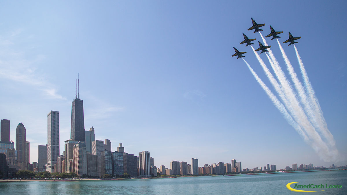 Blue Angles Over Chicago Skyline